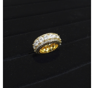 ICED OUT 3 ROW BAGUETTE RING IN GOLD
