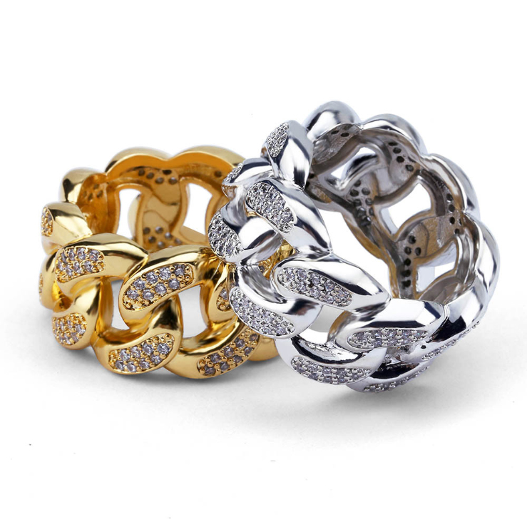 ICED OUT CUBAN RING IN GOLD/SILVER