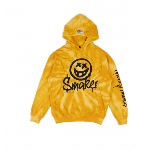 SMILEY TIE DYE HOODIE IN YELLOW