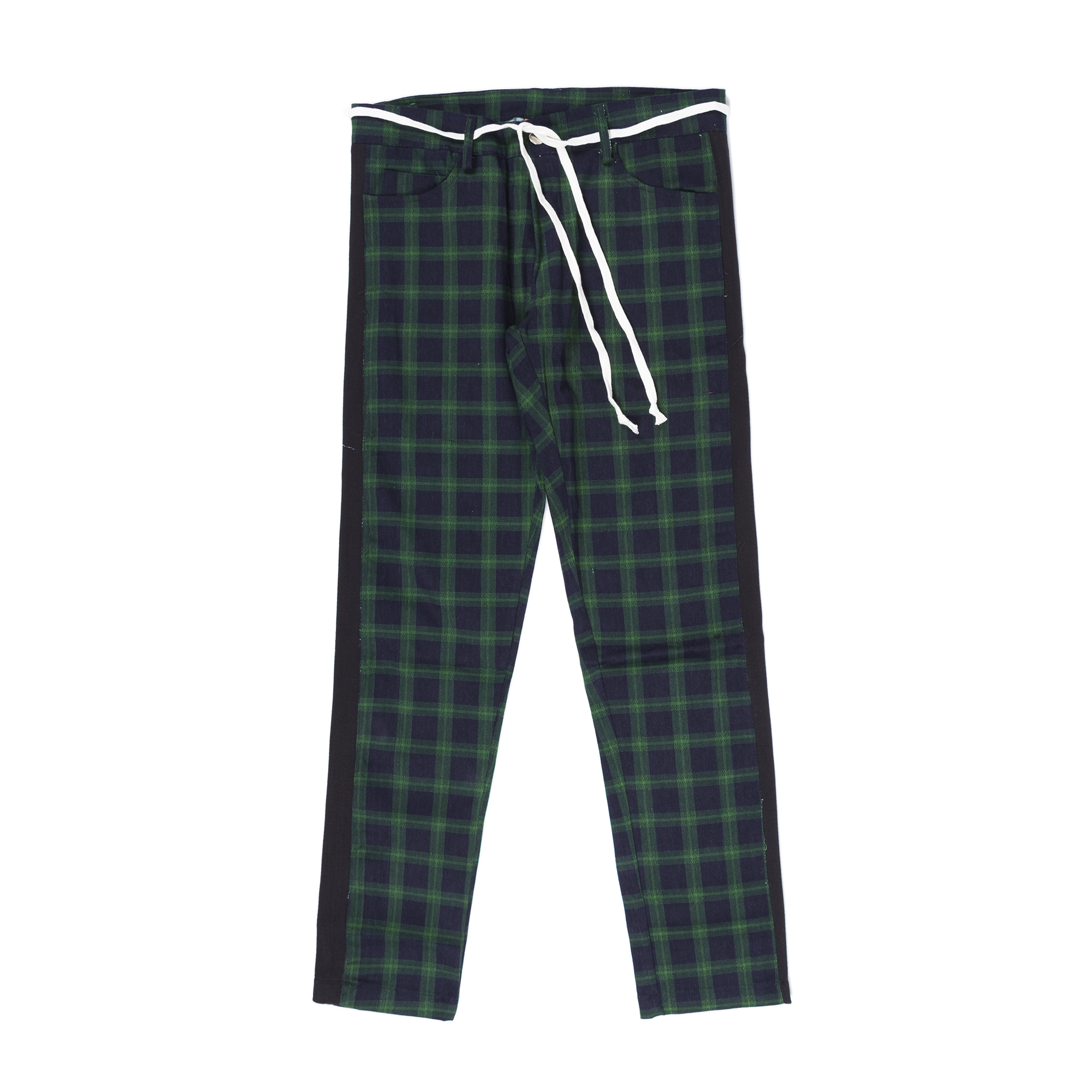 CHECKERED TROUSERS IN DARK GREEN / BLUE WITH STRIPES