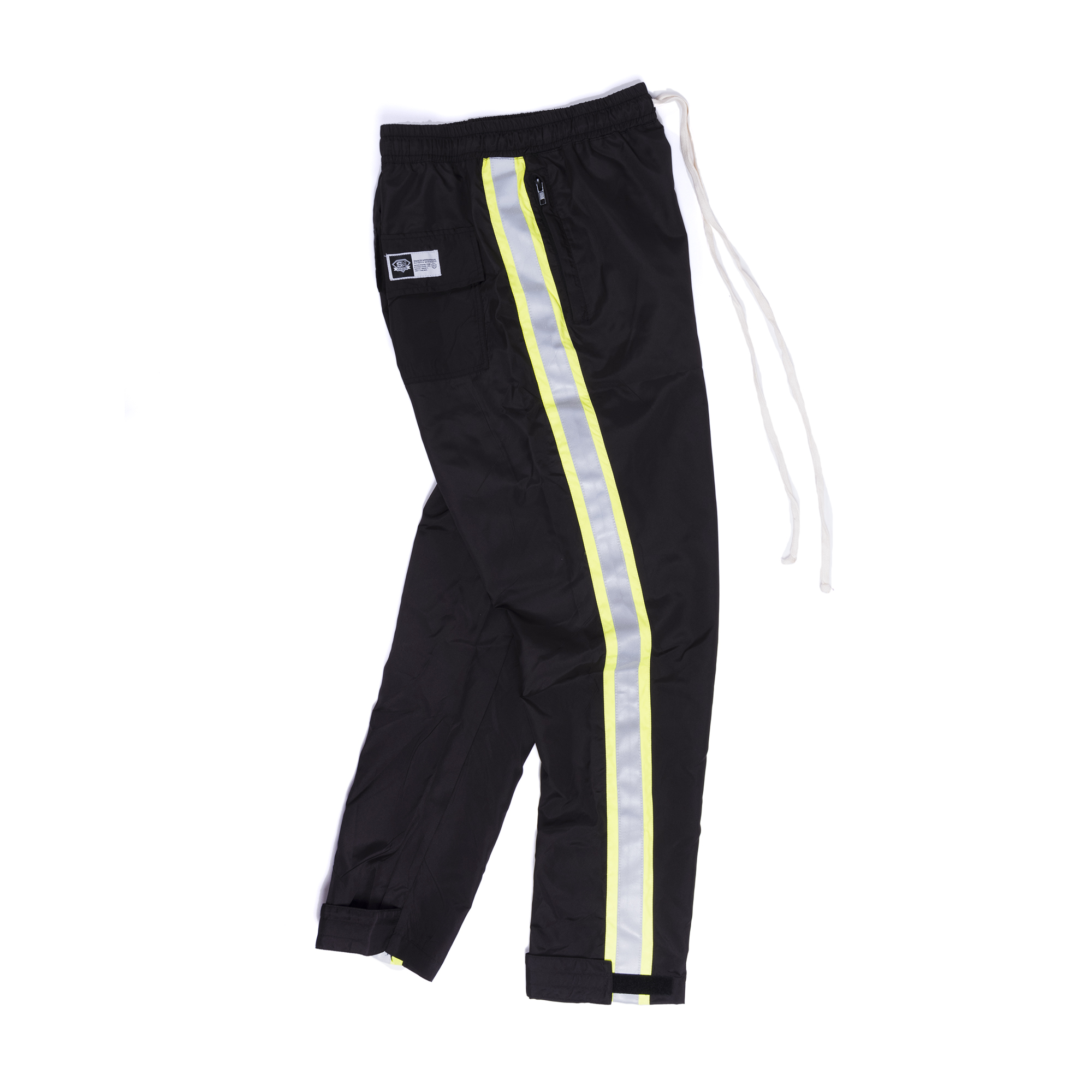 REFLECTIVE NEON STRIPED TRACK PANTS IN BLACK
