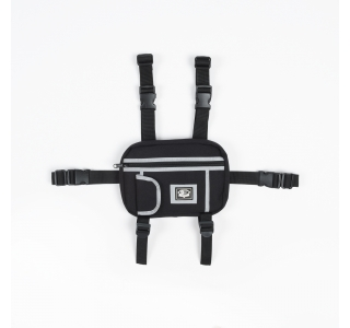 REFLECTIVE CHEST RIG BAG IN BLACK