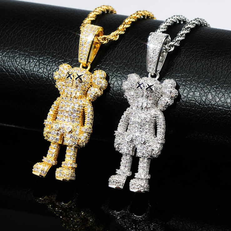 ICED OUT KAWS PENDANT IN GOLD/SILVER