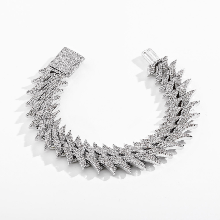 SPIKY CUBAN LINK BRACELET IN GOLD / SILVER