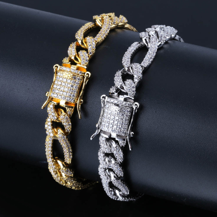 ICED OUT CHAIN LINK BRACELET IN GOLD / SILVER