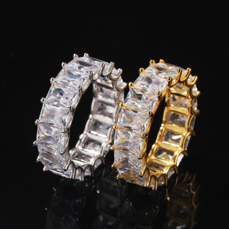 ONE ROW BAGUETTE RING IN 925 SILVER/GOLD