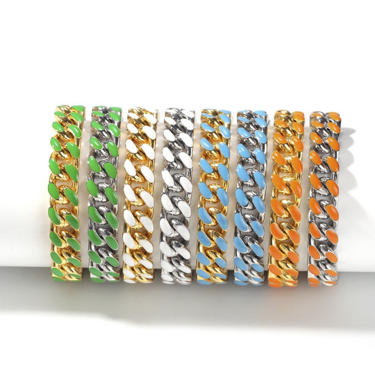 COLOR CUBAN BRACELET IN GREEN, BLUE, WHITE, ORANGE